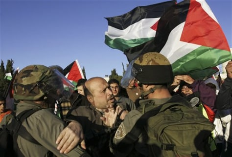 Image: Palestinian man scuffles with Israeli soldiers