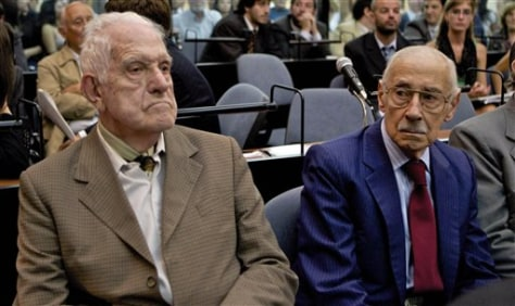 Image: Former dictators Jorge Rafael Videla, right, and Reynaldo Bignone attend their trial