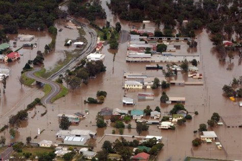 Image: An aerial view shows flooded area