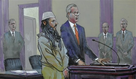 Image: Drawing of alleged terrorist in court
