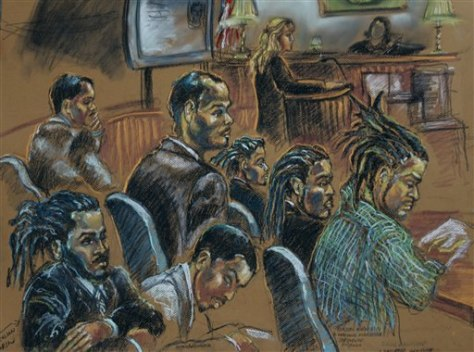 IMAGE: Illustration of defendants in court