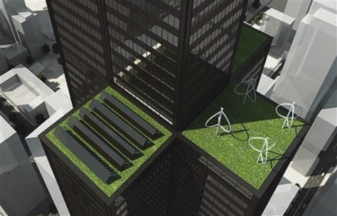 Image: Rendering of solar panels, wind turbines on Sears Tower