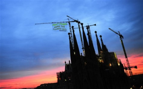 Image: Greenpeace protest at Sagrada Familia church