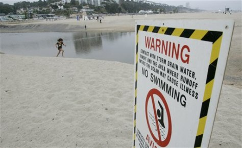 IMAGE: SIGN WARNING SWIMMERS AT BEACH