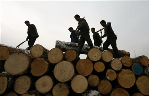 IMAGE: LOGS PILED UP IN CHINA