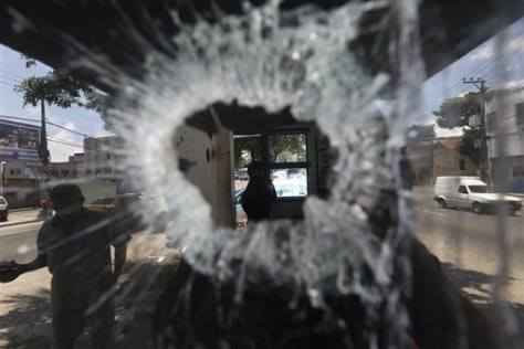 Image: Bullet hole at police station