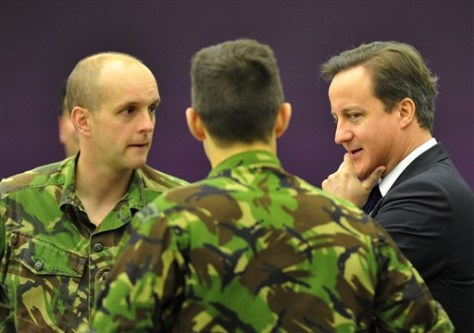 UK Prime Minister David Cameron with military personnel