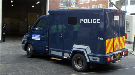 Image: A police van outside Westminster Magistrates' Court in London