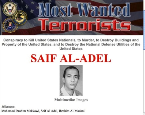Image: Wanted poster for Saif Al-Adel