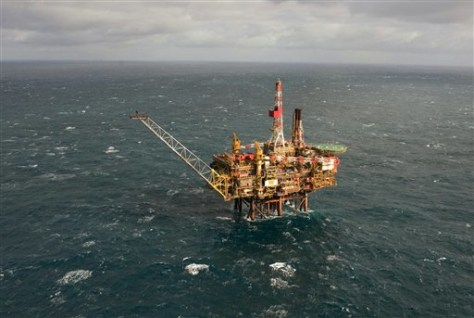 Image: Aerial image of Royal Dutch Shell oil platform in North Sea
