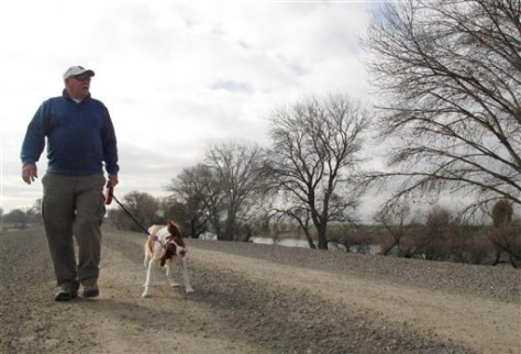 Image: Jack Robertson walks dog on top of levee