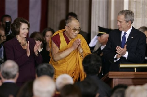 IMAGE: Dalai Lama with Bush, Pelosi
