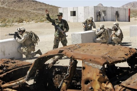 Image: Military training at mock Afghan village