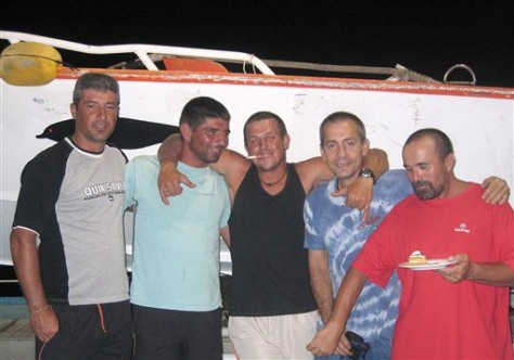 Image: Spanish trawler and some of its crew