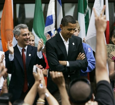 IMAGE: Rep. Rahm Emanuel and Sen. Barack Obama