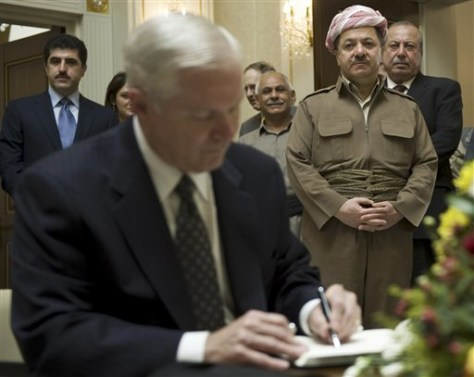 Image: U.S. Defense Secretary Robert Gates, front left, and Iraqi Kurdish regional President Massoud Barzani, background right.