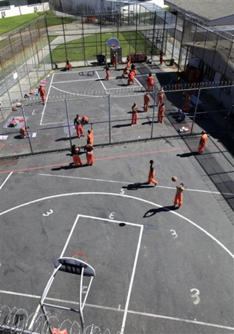 Image: Inmates are in the exercise yard at the Rio Cosumnes Correctional Center, in Elk Grove, Calif.