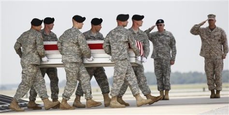 Image: An Army carry team, holding the remains of Army Specialist Christopher S. Wright, of Tollesboro, Ky.