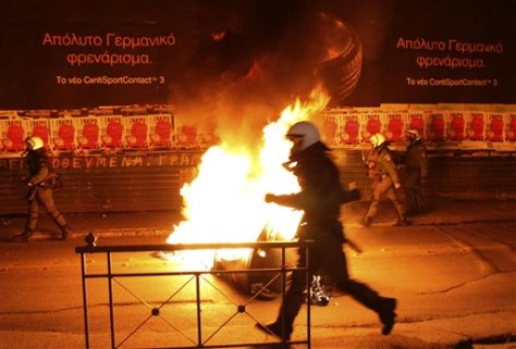 Image: Riot police officers in Greece