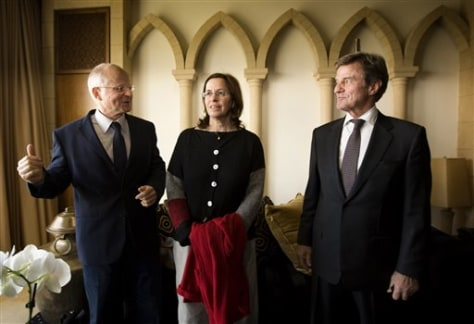 Image: Bernard Kouchner, right, with Noam and Aviva Schalit
