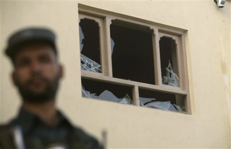 Image: Building damaged in Kabul rocket attack