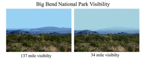 Image: Big Bend on clear, hazy days