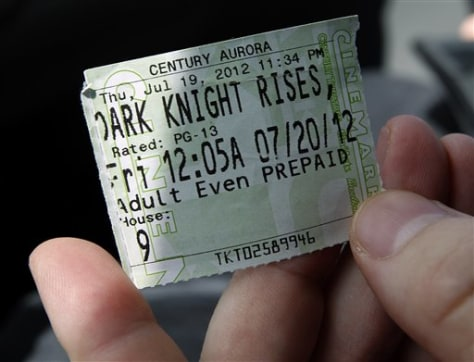 "Image: Ticket from midnight screening of ""The Dark Knight Rises"" at Aurora's Century 16 Theater"