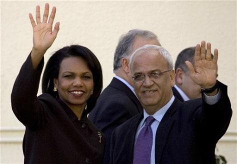 Condoleezza Rice and Saeb Erekat