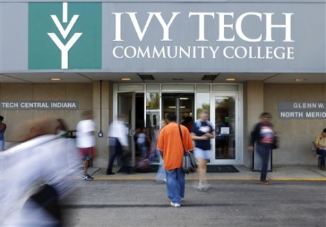 Image: Students move through the entrance to Ivy Tech Community College