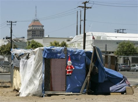 Image: Homeless shanty in Fresno, Calif.