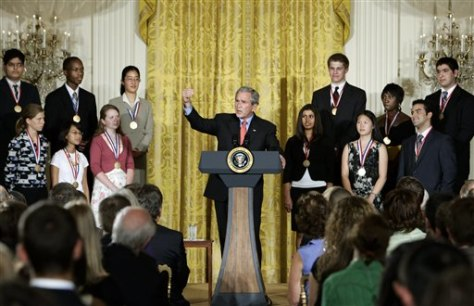 IMAGE: President Bush and students