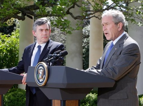 IMAGE: George W. Bush and Gordon Brown