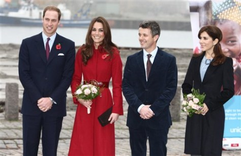 Image: Will and Kate stand with Denmark's royals