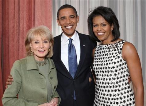 Image: Barbara Walters, Barak Obama, Michelle Obama