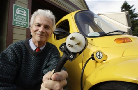 Image: Owner with all-electric Sparrow vehicle
