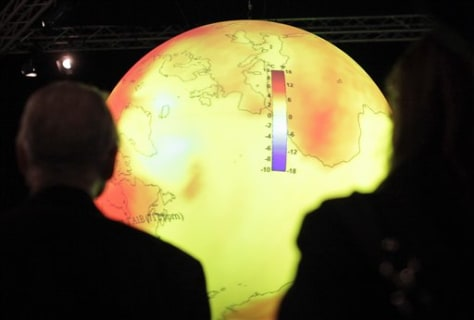 Image: Globe showing sea temperature rise