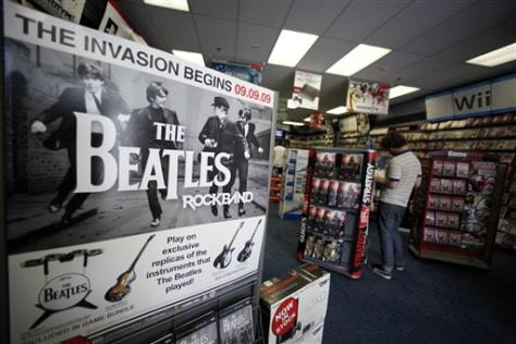 "Image: Display for ""The Beatles: Rock Band"" video game"