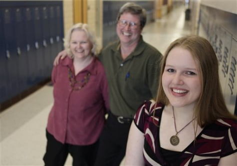 Image: High school senior Ashley Bober with her parents, John and Robin Bober