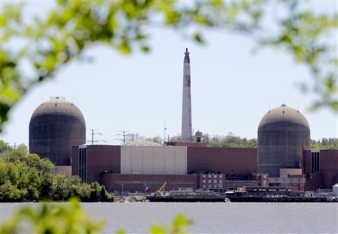 Image: The nuclear power plant at Indian Point in Buchanan, N.Y., is seen with the Hudson River in the foreground