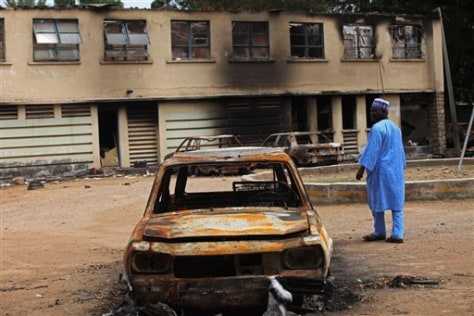 Image: Man in burned-out Nigerian town