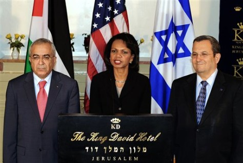 IMAGE: Rice, Barak and Fayyad in Jerusalem