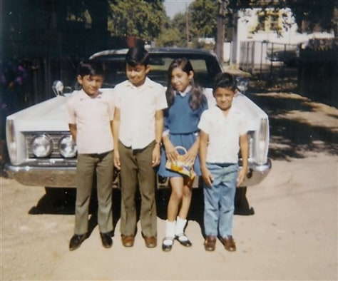Image: Jose Hernandez, far right, with his brothers Gil, left, Chava and sister Leticia