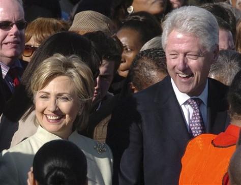 Image: Sen. Hillary Rodham Clinton, D-N.Y., and former President Bill Clinton