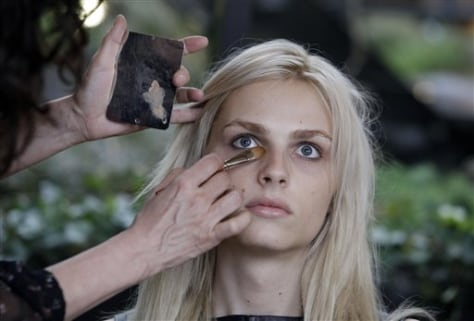 Image: Andrej Pejic receiving makeup