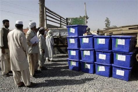 Image: Ballot boxes in Kandahar province
