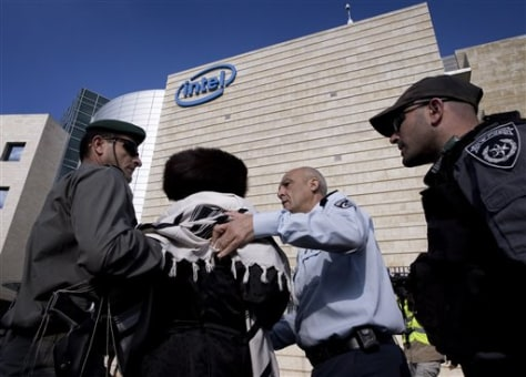 Image: Protester arrested outside Intel office