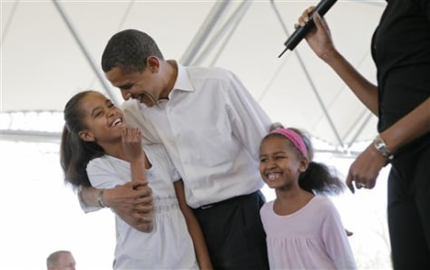 Image: President Barack Obama and his daughters, Malia, left, and Sasha