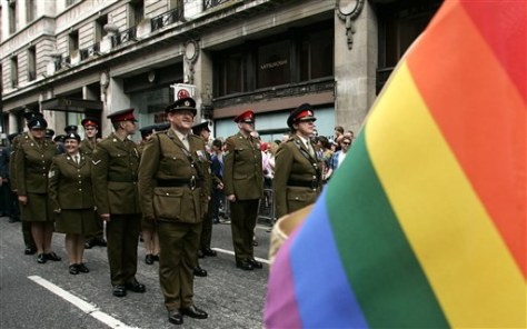 Image: Military personnel join a gay pride event in London