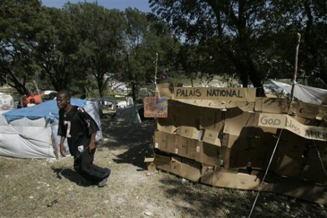 Image: Cardboard 'palace' in Haitian refugee camp