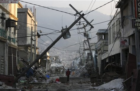 Image: Damaged street in Haiti